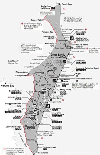 Map Of Fraser Island Fraser Island Tours   World Heritage Camping & Accommodation