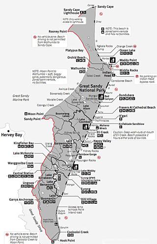 Map Of Fraser Island Fraser Island Tours   World Heritage Camping & Accommodation